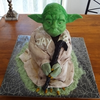 Yoda Star Wars Cake   The body of Yoda is chocolate cake and I sculpted the head out of white chocolate.