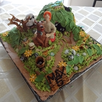Scooby Doo And Shaggy Cake  Scooby and Shaggy are made of chocolate. The cake is wickedly chocolate cake with ganache and fondant. Everything else is made of sugar...