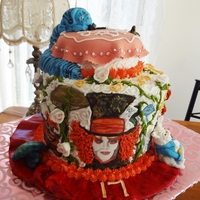 Alice In Wonderland Mad Hatter Cake Chocolate mud cake...hand painted with royal icing details...everything is edible....