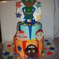 Super Why And The Super Readers Birthday cake made for my baby cousin last year. Fondant, almond buttercream, pineapple filling. Made faces 3 days ahead. I love the colors...