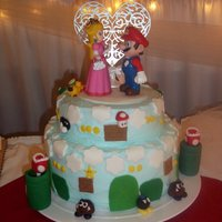 1316560818.jpg Mario Themed Wedding cake I made formy husbands cousin.