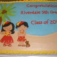 Luau Graduation iced in buttercream, fondant figures