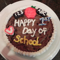 Happy 1St Day Of School   Cookie Cake with buttercream frosting. Frosted chocolate wafers for chalk board.