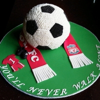 Soccer used sports ball pan, covered in buttercream
