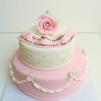 Romantic Cake romantic pastel pink green cake with little roses and big rose on top