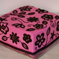 Pink & Black Brushed Embroidery