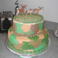 First Camo Baby Shower Cake 12 inch three layer bottom buttermilk cake, with raspberry and lemon filling and lemon buttercream frosting with a 9 inch three layer...