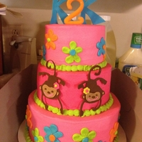 "Monkey Love Cake 3 tiered ""monkey love"" cake inspired by their birthday invitations and decor. This cake was for twin girls turning 2. All..."