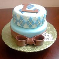 Argyle Baby Shower Cake *Argyle baby shower cake