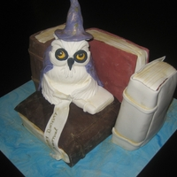 Owl Wizard Wizard owl sitting on old books reading our birthday message