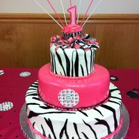 1St Birthday Cake hot pink and zebra fondant cake