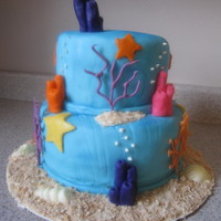 Under The Sea ocean blue tinted fondant with fondant and chocolate accents