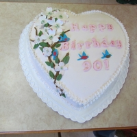 90 Th Birthday Heart dogwood flowers rolled fondantwith pattern on the sides