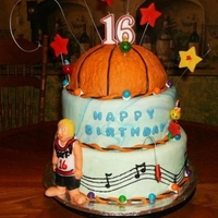 16 Year Birthday Cake Basketball fondant pattern twisted & rolled two colors to get varigated hand painted music notes player is gumpaste.