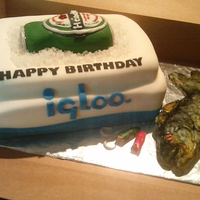 Cooler And Fishing Cake Cooler cake with a beer and fish and hooks