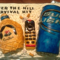 Over The Hill Cake Over the hill cake with crown royal bottle, budwiser can, and cigarettes.