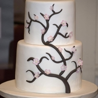 Cherry Blossom tall tiers with MMF over chocolate ganache