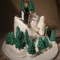 Bride And Groom Ski Cake This is a cake that was used for the cake cutting at a wedding. They already had a sheet cake ordered to serve the guests. The bride wanted...