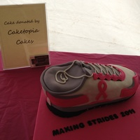 Sneaker Cake For Making Strides   A pink ribbon sneaker cake made for the survivor tent at the Making Strides Walk