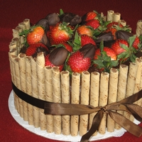 Chocolate Cake With Strawberries And Pirouettes