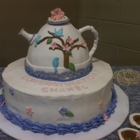 Teapot Cake For Bridal Shower I made this cake for a bridal shower. Its 14 inch round, double layer cake plus the teapot. I also made tea cups to go along.