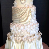 Ivory White And Champagne Pearls And Swags Wedding Cake I Need This Cake For The Gca Gala Silent Auction I Donated 2 Custom Cakes To Rais Ivory, white and Champagne pearls and swags wedding cake. I need this cake for the GCA gala silent auction. I donated 2 custom cakes to...
