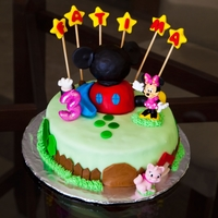 Minnie Mouse Birthday Cake Yellow cake with chocolate buttercream ~~ I made this cake for my friend's daughter on the same day that I made my angry birds cake (...