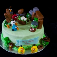 Angry Birds Cake Fruit cake with strawberry fillings and edible angry birds =)