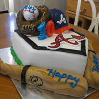 Atlanta Braves Birthday Cake Home plate made from cake... the rest is sculpted from cereal treats.