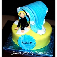 Surfer Cake All edible fondant decor. Chocolate cake with chocolate buttercream