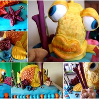 Goofy Fish Cake Base and fish are made from cake, all decorations made from fondant