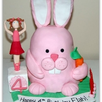 Bunnies And Bellerina's All Edible, fondant figure, ears made of cookies and covered in fondant. Strawberry cake with strawberry buttercream