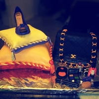 Birthday Cake Shoes, Pillow, Purse,Cosmetics made from fondant and gumpaste