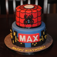Spider-Man! Spiderman Candle supplied by customer for the top of this cake.