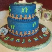 Baby And Footprints Shower Cake Let me begin by saying this was my first stacked cake...The mother asked for navy blue and alligator green colors. She also requested the...