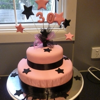 30Th Birthday Cake   Cake made for a friends daughter - white choc mud, choc mud & all fondant decorations