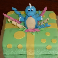 Dinosaur Cake Used fondant for all icing - white mudcake with ganache.