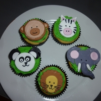Zoo Cupcakes   Buttercream icing piped & fondant animals