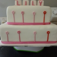 Christening Cake White choc mudcake with white choc ganache & choc mudcake with choc ganache. All other decorations fondant