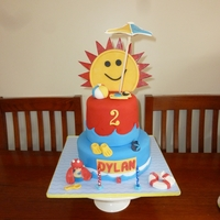 Sunshine Cake For My Son's Beach Party All edible (apart from candles), fondant icing, a big big thank you to Peggy does cakes for her help on this! :)
