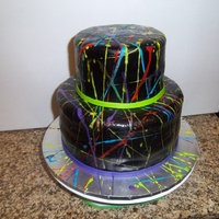Paint Splatter Crazy! This cake was so fun to make! I stuck the cake in a giant box and flung different colors of royal icing while I spun the cake stand. I was...