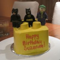 Batman Lego Cake a 6 in square lego with fondant lego batman, catwoman and joker figures.