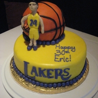 Lakers Cake (30Th Birthday) Lakers themed cake with the birthday boy figure on it wearing his favorite player's number