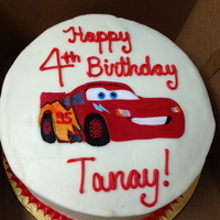 Lightening Mcqueen Birthday Cake Red Velvet With Cream Cheese Frosting Image In Fondant Lightening McQueen birthday cake. red velvet with cream cheese frosting. image in fondant.