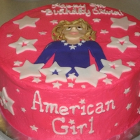 American Girl Birthday Cake An American Girl themed birthday cake. image of birthday girl made out of fondant.
