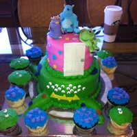 Monsters Inc Cake 2 Tier Monsters Inc Cake and matching cupcakes I did for my daughter's 2nd birthday party