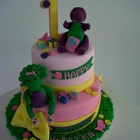 Barney And Baby Bop Barney and Baby Bop cake for a 1st birthday