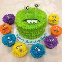 Monster Cake And Cupcakes   Monster cake and cupcakes