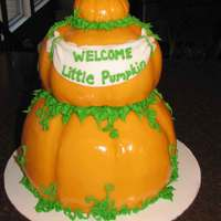 "Little Pumpkin Baby Shower Cake This was for a baby shower the week before Halloween and the theme was ""Welcome Little Pumpkin"". The small pumpkin and baby are..."