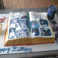 Memories photo album cake with his favorite stuff. His beer,fishing lure,coffee cup and photos of his family